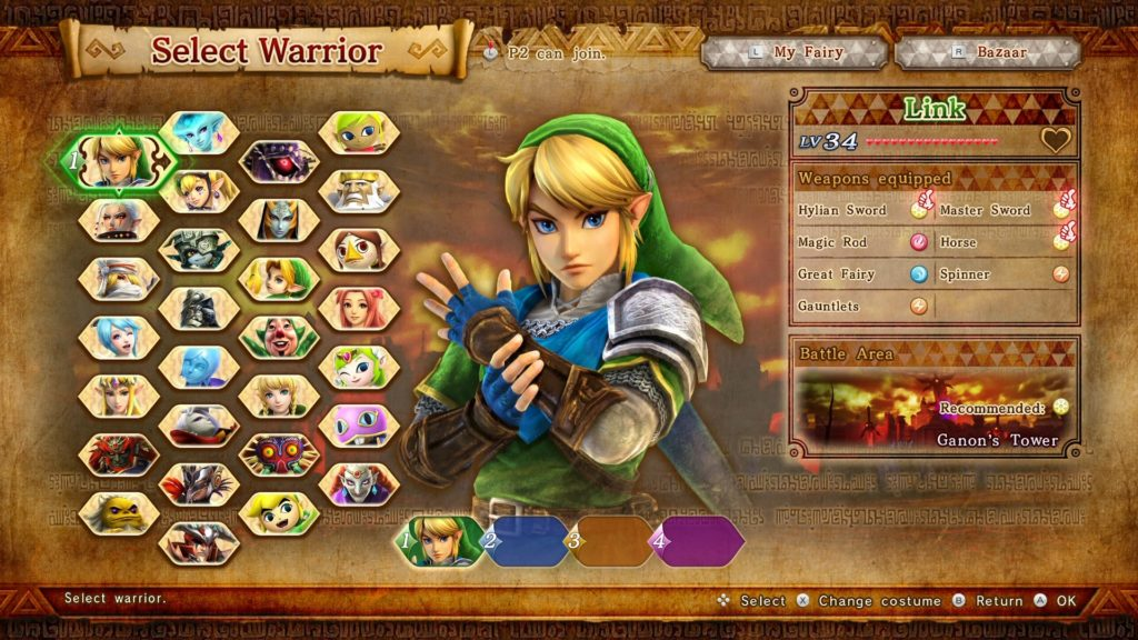 Screenshot du jeu Hyrule Warriors: Definitive Edition sur Nintendo Switch : écran de choix du personnage