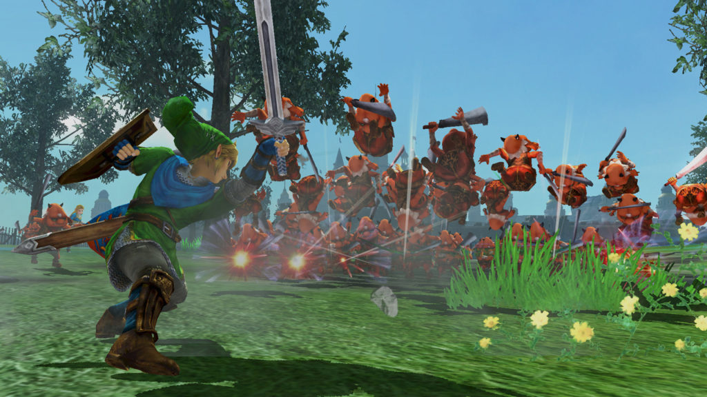Screenshot du jeu Hyrule Warriors: Definitive Edition sur Nintendo Switch : Link contre une armée de Bokoblins
