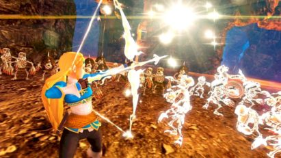 Screenshot du jeu Hyrule Warriors: Definitive Edition sur Nintendo Switch : Zelda affronte une armée de squelettes