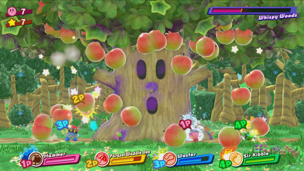 Jeu Kirby Star Allies sur Nintendo Switch : boss Whispy Woods