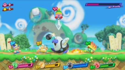 Jeu Kirby Star Allies sur Nintendo Switch : boss Mr. Frosty