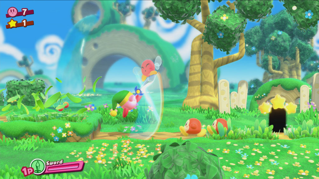 Screenshot du jeu Kirby Star Allies sur Nintendo Switch : image du gameplay en solo