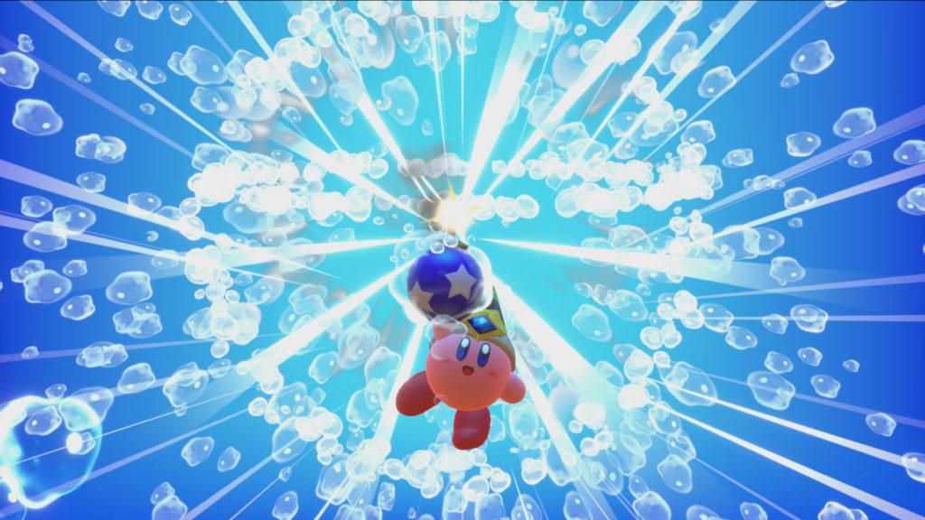 Screenshot du jeu Kirby Star Allies sur Nintendo Switch : pouvoirs d'ami avec combinaison bombe et eau