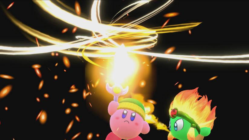 Screenshot du jeu Kirby Star Allies sur Nintendo Switch : combinaison épée et feu