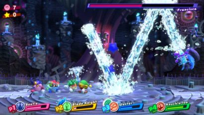 Jeu Kirby Star Allies sur Nintendo Switch : boss Francisca (Frozen General)