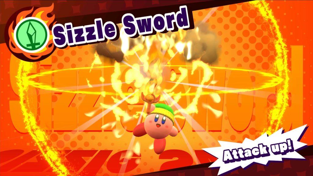 Screenshot du jeu Kirby Star Allies sur Nintendo Switch : pouvoirs d'ami feu et épée