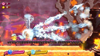 Screenshot du jeu Kirby Star Allies sur Nintendo Switch : pouvoirs d'ami avec combinaison eau et feu