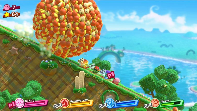 Screenshot du jeu Kirby Star Allies sur Nintendo Switch : une équipe de 4 joueurs en local
