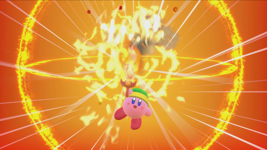 Screenshot du jeu Kirby Star Allies sur Nintendo Switch : pouvoirs d'ami