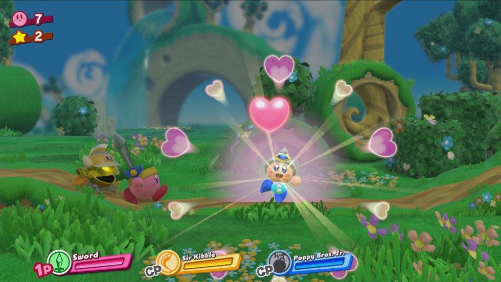 Jeu Kirby Star Allies sur Nintendo Switch : le cœur transforme l'ennemi en allié