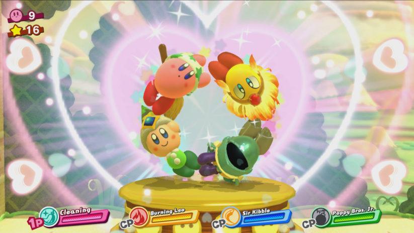 Screenshot du jeu Kirby Star Allies sur Nintendo Switch : multijoueur local jusqu'à 4 joueurs