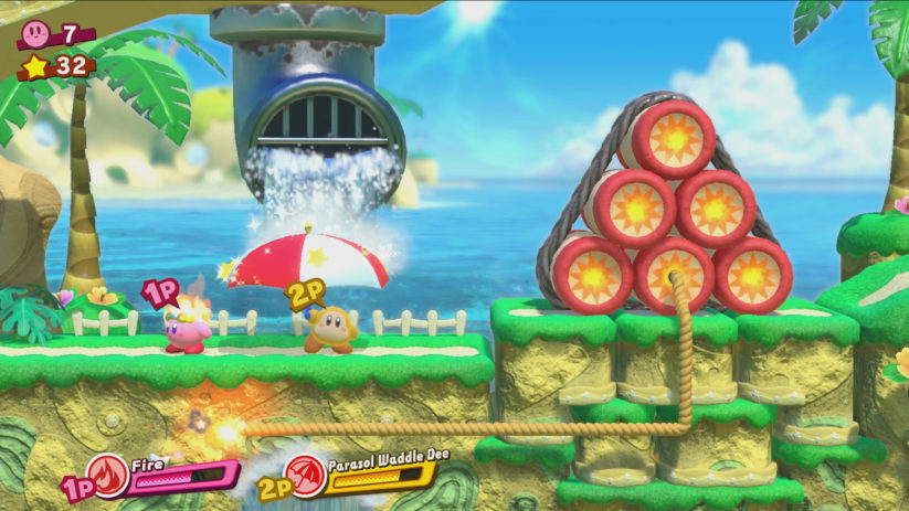 Screenshot du jeu Kirby Star Allies sur Nintendo Switch : image du gameplay à 2 joueurs