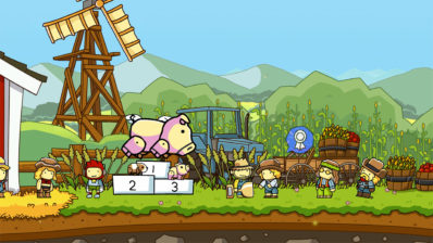 Capture d'écran de Scribblenauts Mega Pack : un cochon et un podium