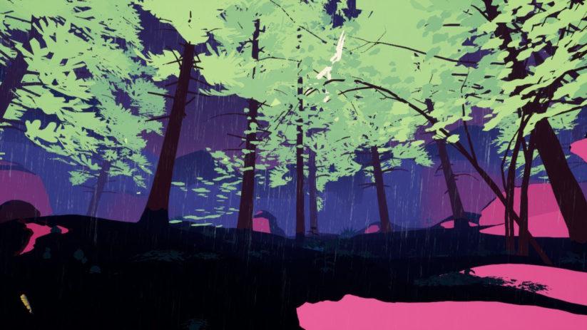 Screenshot du jeu Shape of the World sur Nintendo Switch : une épopée magnifique dans la nature avec une palette de couleurs exceptionnelle