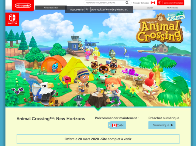 Un site officiel Nintendo pour teaser Animal Crossing: New Horizons