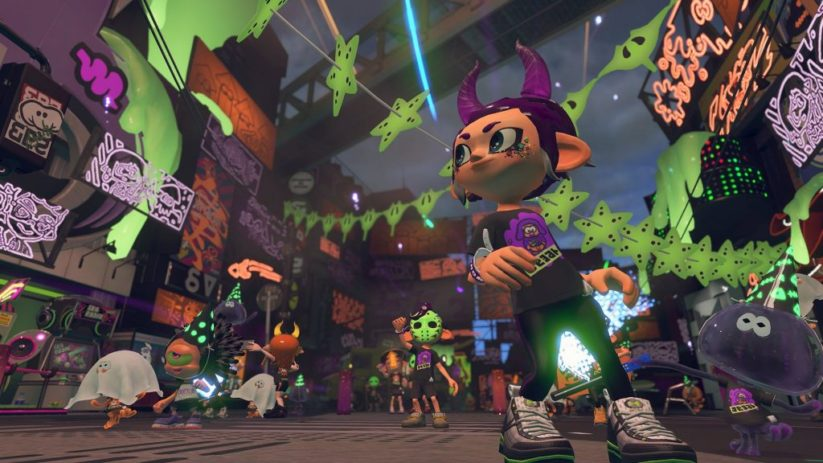 Jeu Splatoon 2 sur Nintendo Switch : décor du Splatest d'octobre 2018 Splatoween