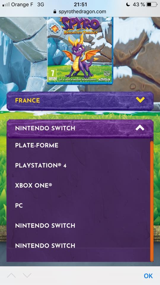 Jeu Spyro Reignited Trilogy sur Nintendo Switch : la Switch a été listée sur le site officiel