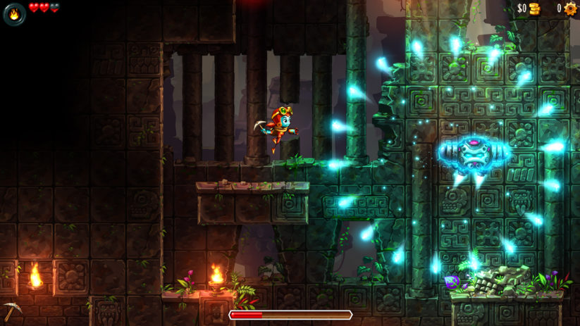 Jeu SteamWorld Dig 2 sur Nintendo Switch : attention aux attaques du boss