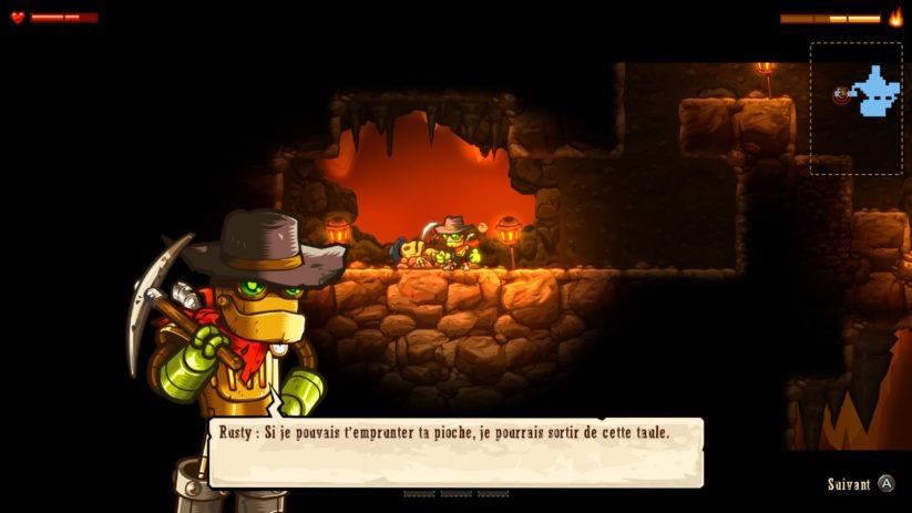 Image du jeu SteamWorld Dig sur Nintendo Switch : retrouvailles avec l'oncle de Rusty