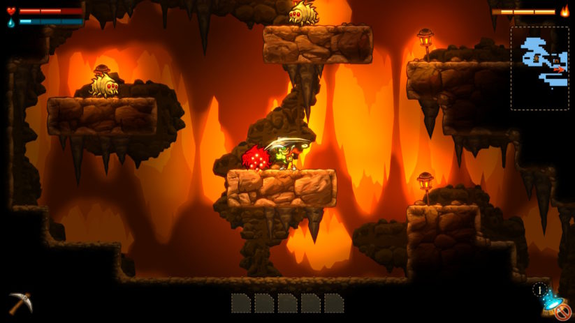 Image du jeu SteamWorld Dig sur Nintendo Switch : tranchage de monstre