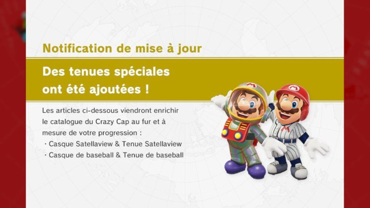 Mise à jour Super Mario Odyssey : tenues Satellaview et baseball disponibles