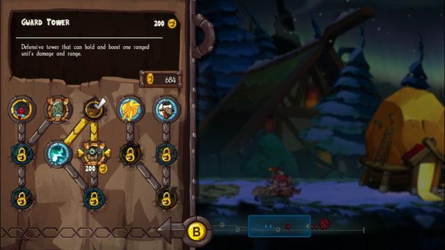 Jeu Swords & Soldiers 2 Shawarmaggedon sur Nintendo Switch : arbre des compétences