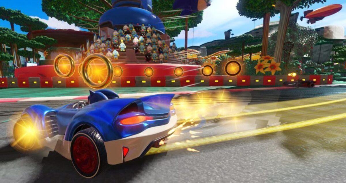 Screenshot du jeu Team Sonic Racing sur Nintendo Switch : dérapage de Sonic