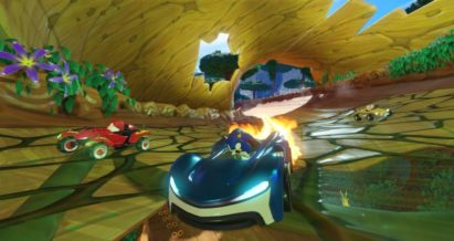 Screenshot du jeu Team Sonic Racing sur Nintendo Switch : boost de Sonic