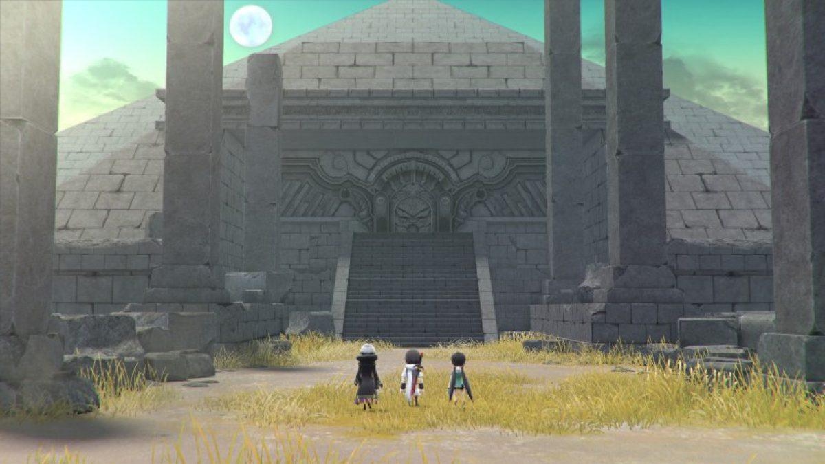 Les héros de lost sphear devant un temple