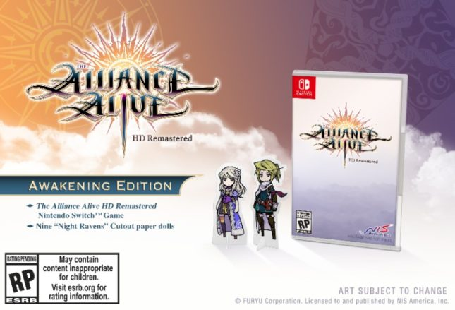 Version physique standard de The alliance Alive HD Remaster sur Nintendo Switch