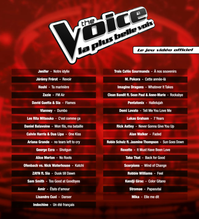 Jeu The Voice La Plus Belle Voix sur Nintendo Switch : Tracklist de l'édition 2019