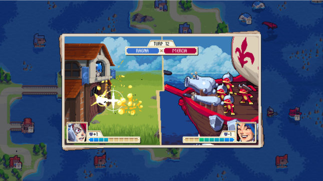 Jeu Wargroove sur Nintendo Switch : attaque maritime
