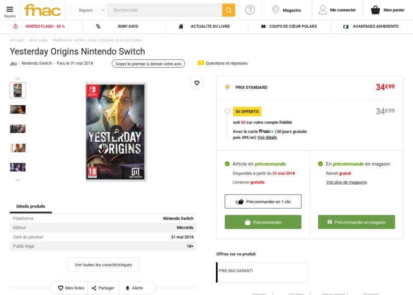 Yesterday Origins sur Nintendo Switch : sortie le 31 mai