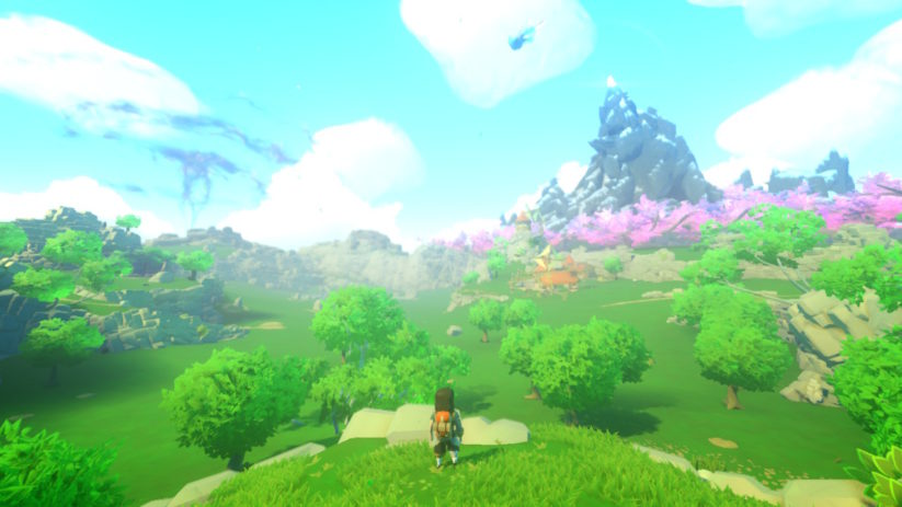 Jeu Yonder The Cloud Catcher Chronicles sur Nintendo Switch : Des paysages à couper le souffle.