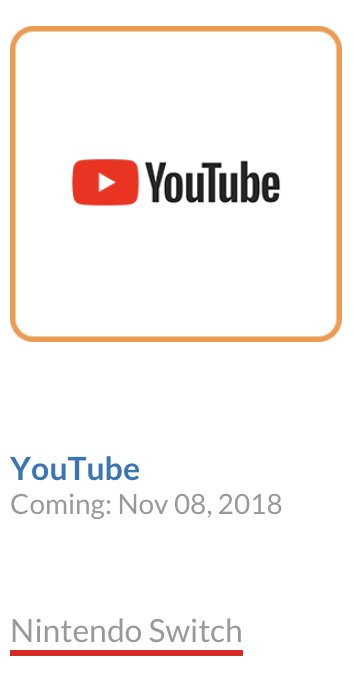 L'icône de l'application YouTube est apparue sur le site officiel Nintendo.com