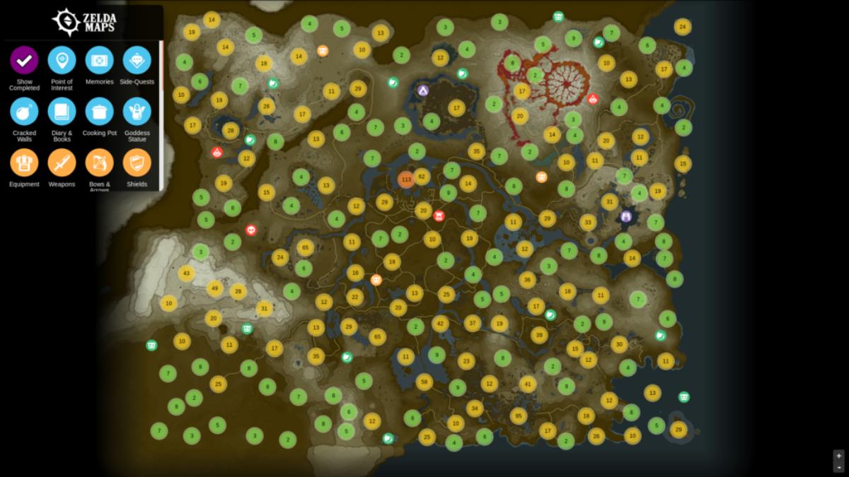 Zelda Breath of the Wild : la carte ultime et interactive pour tout trouver, même les Korogus !