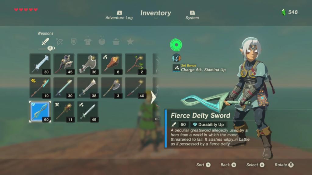 Epée Fierce Deity Sword de Zelda Breath of the Wild