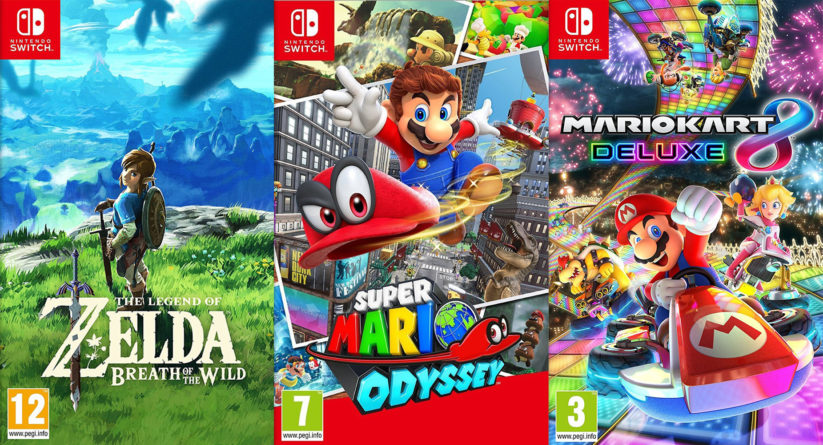 Top 3 des jeux Nintendo Switch : Zelda Breath of the Wild, Super Mario Odyssey et Mario Kart 8 Deluxe